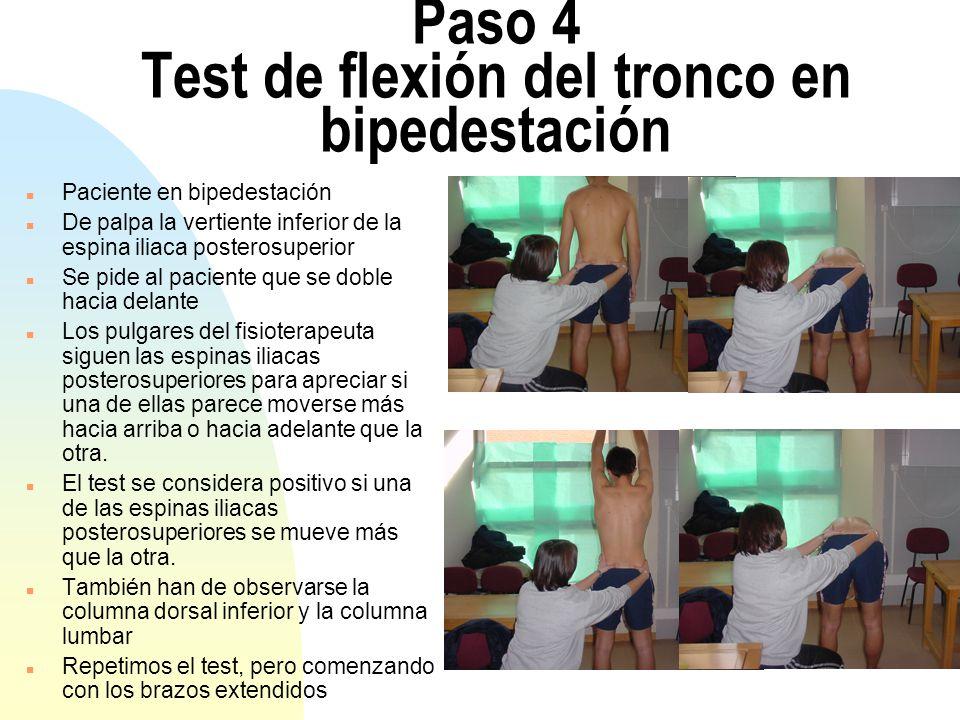 Paso 4 Test de flexión del tronco en bipedestación