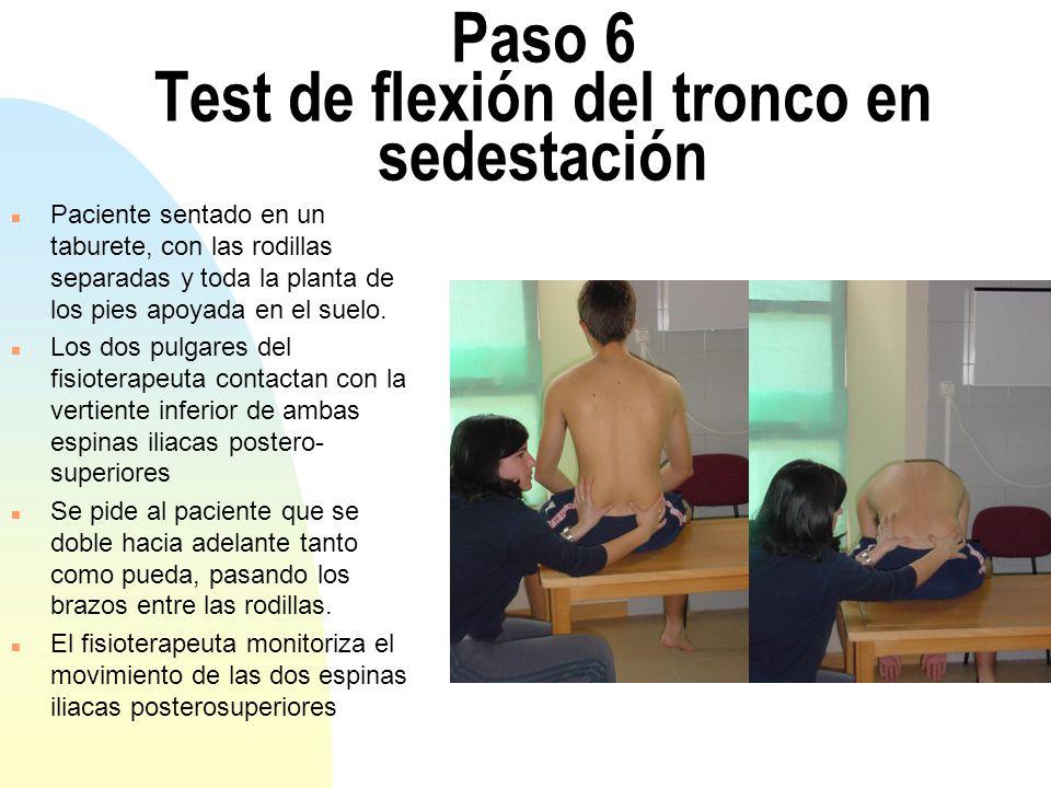 Paso 6 Test de flexión del tronco en sedestación