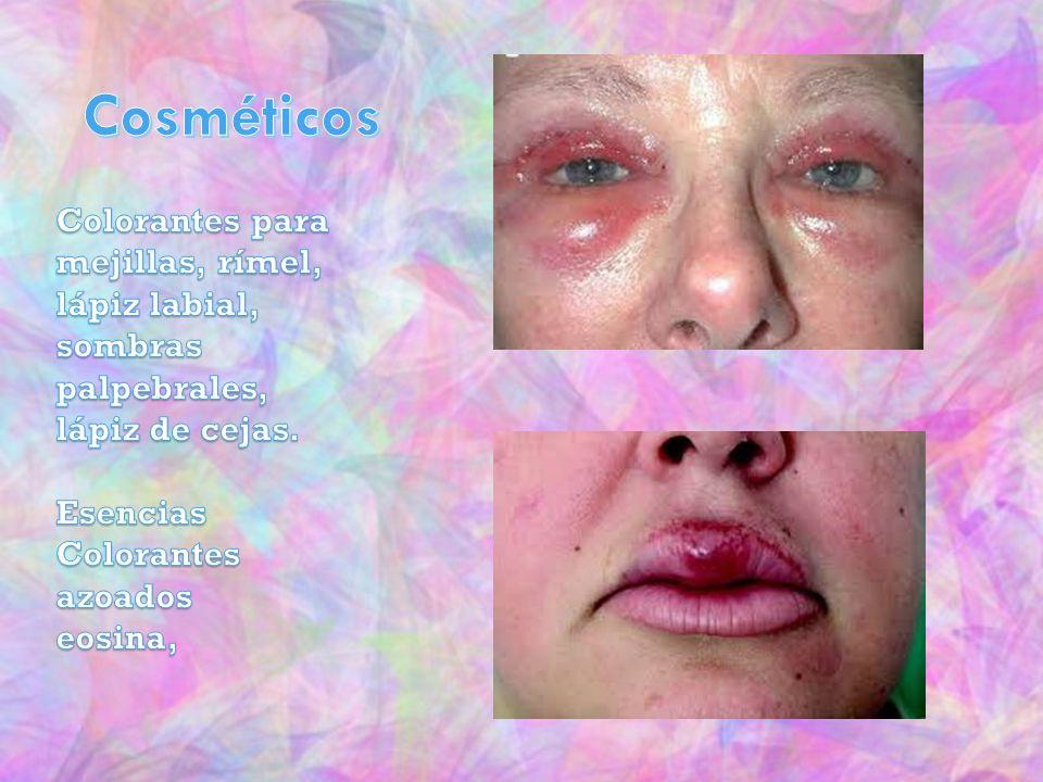 Cosméticos Colorantes para mejillas, rímel, lápiz labial, sombras palpebrales, lápiz de cejas. Esencias.