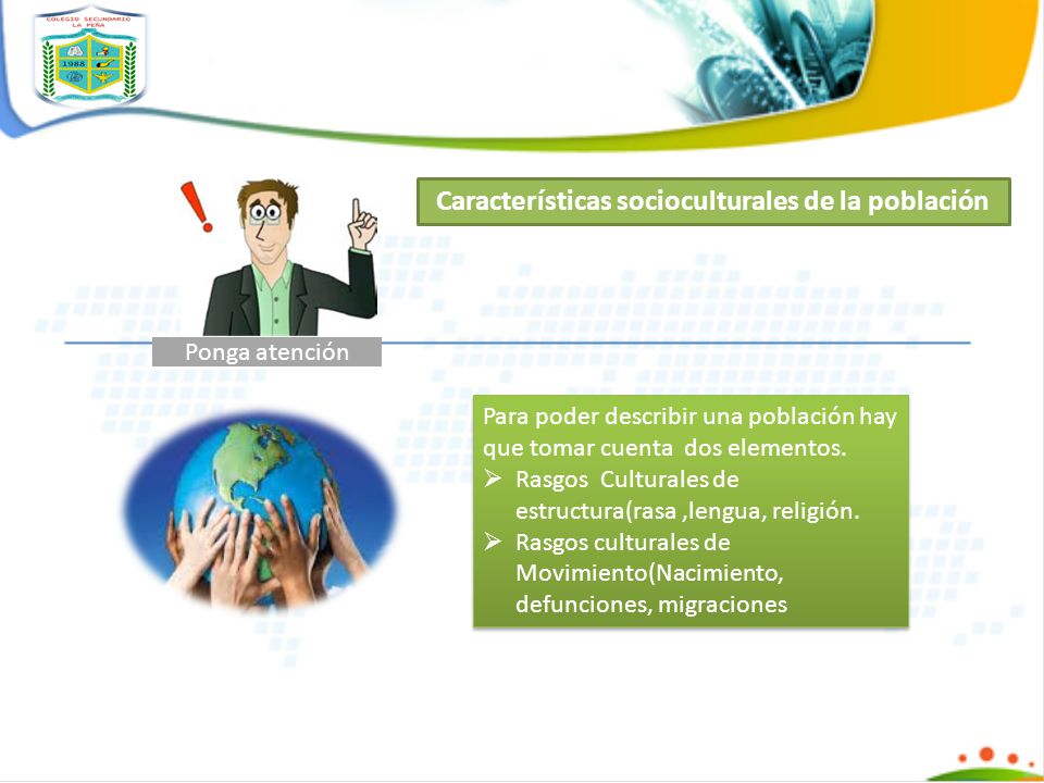 Características socioculturales de la población