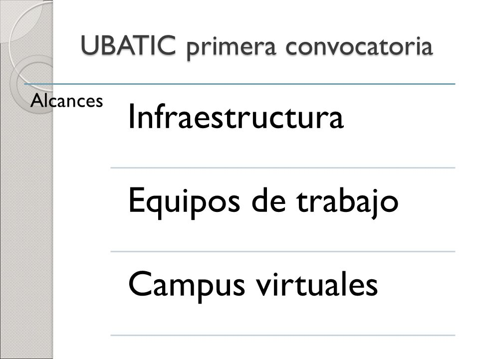 UBATIC primera convocatoria