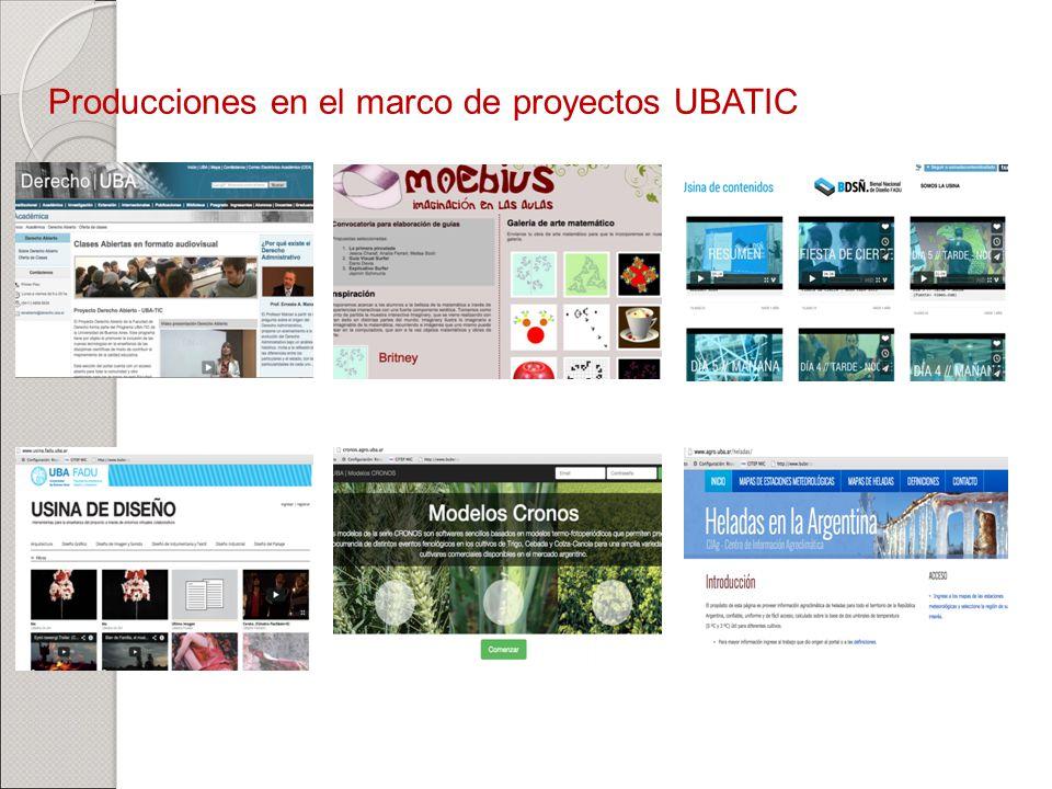 Producciones en el marco de proyectos UBATIC