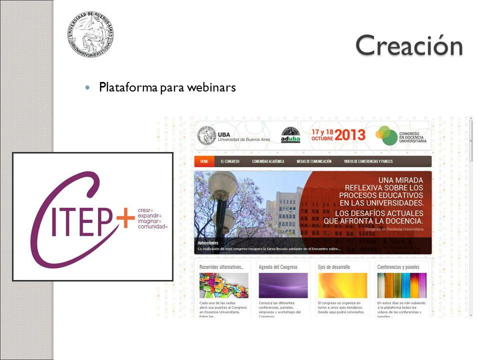 Creación Plataforma para webinars