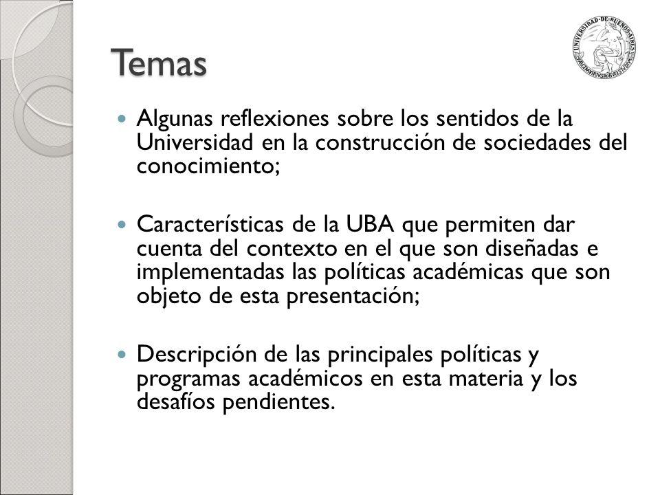Temas Algunas reflexiones sobre los sentidos de la Universidad en la construcción de sociedades del conocimiento;