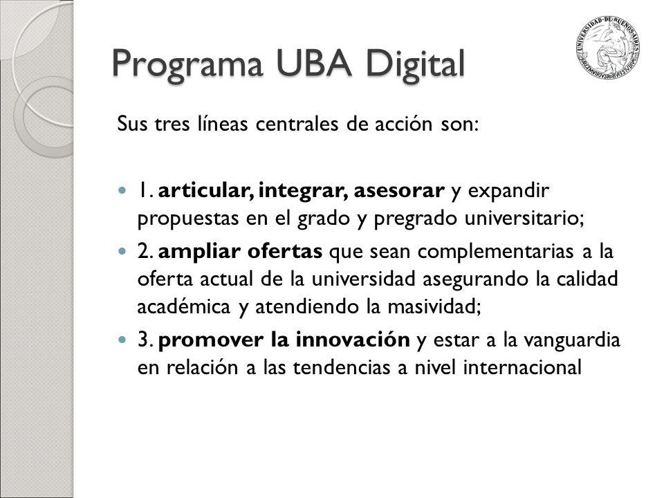 Programa UBA Digital Sus tres líneas centrales de acción son: