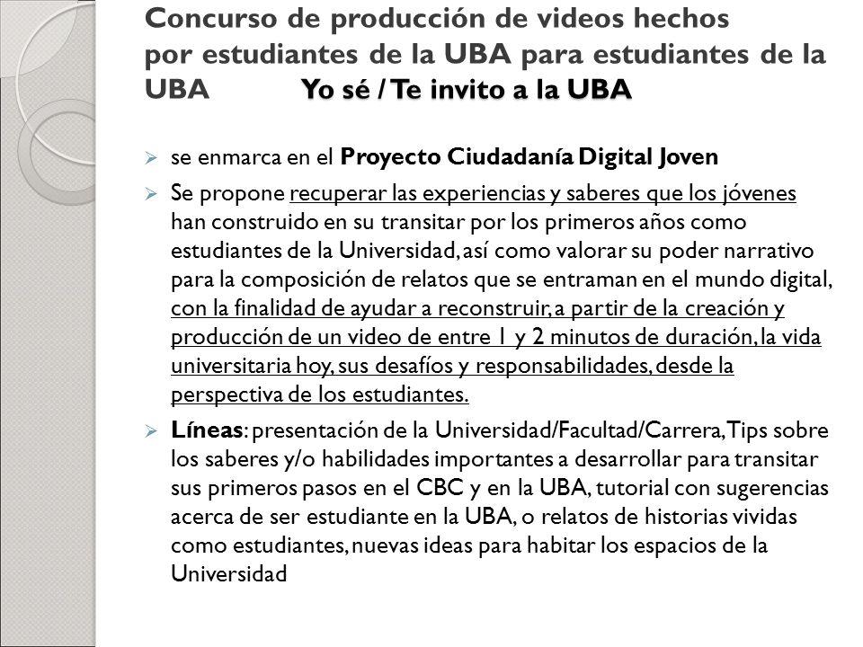 Concurso de producción de videos hechos por estudiantes de la UBA para estudiantes de la UBA Yo sé / Te invito a la UBA