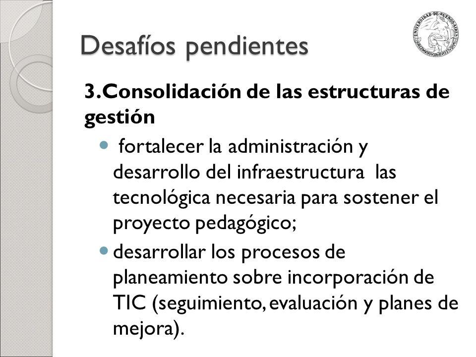 Desafíos pendientes 3.Consolidación de las estructuras de gestión