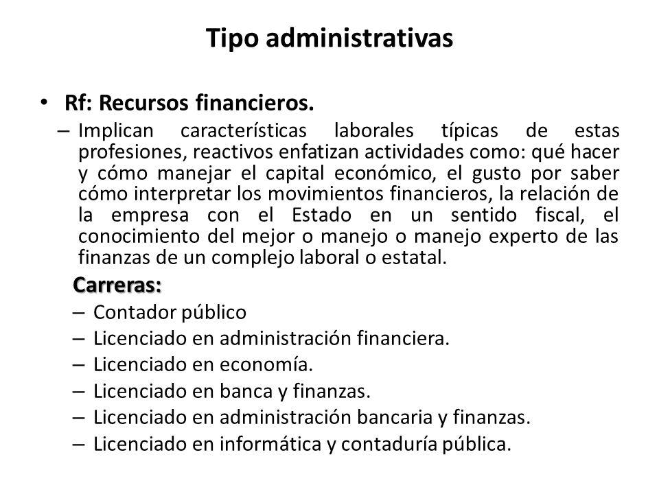 Tipo administrativas Rf: Recursos financieros. Carreras: