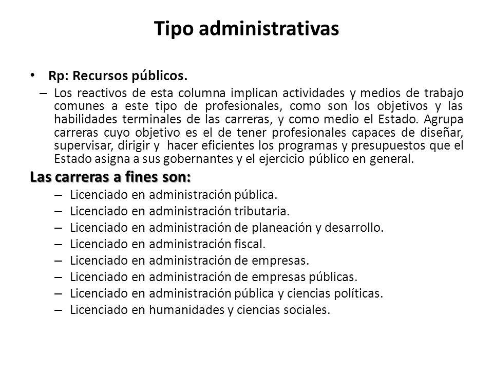 Tipo administrativas Las carreras a fines son: Rp: Recursos públicos.