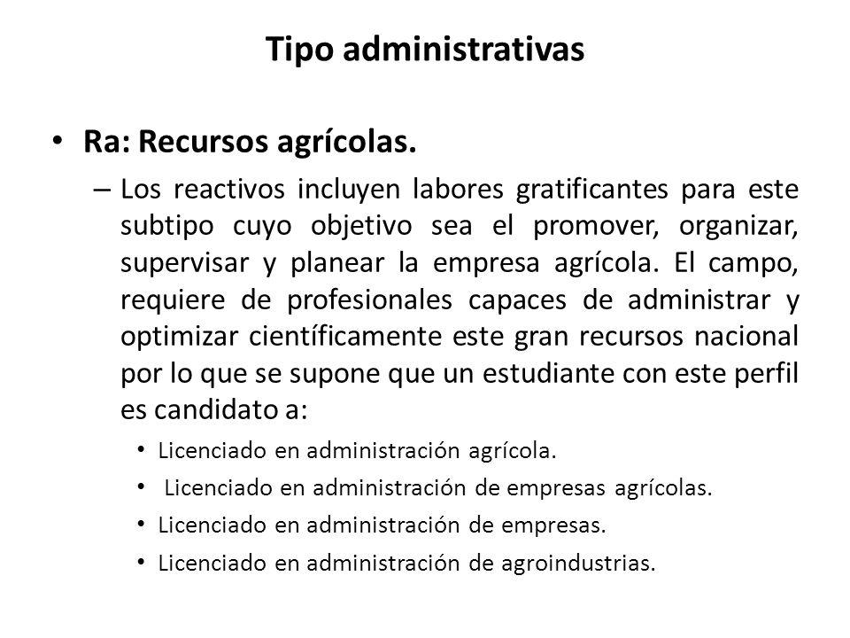Tipo administrativas Ra: Recursos agrícolas.