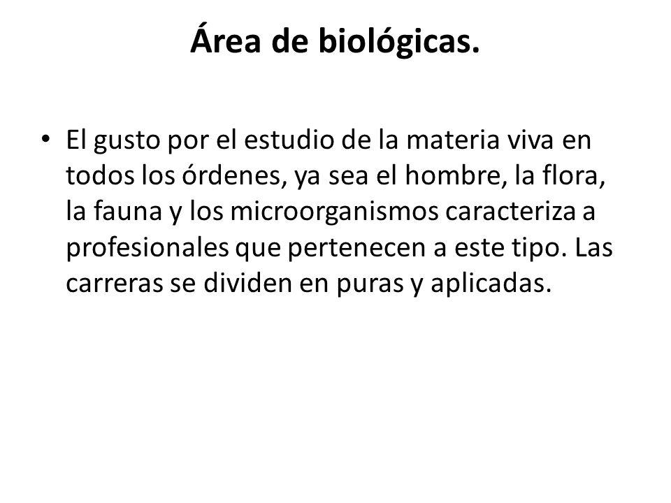 Área de biológicas.