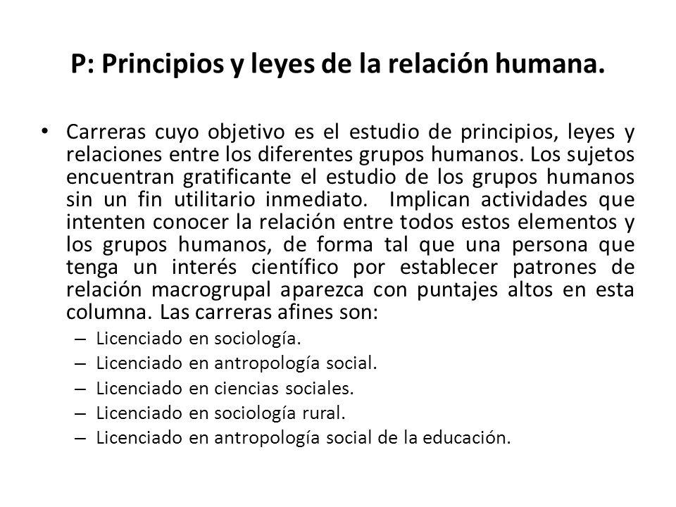 P: Principios y leyes de la relación humana.
