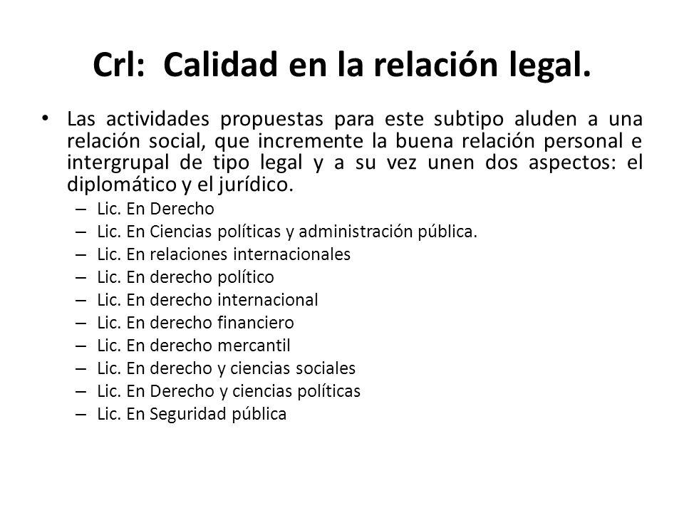 Crl: Calidad en la relación legal.
