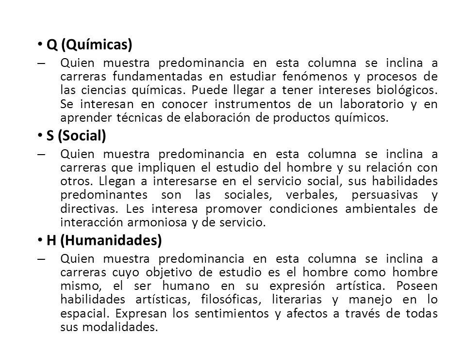 Q (Químicas) S (Social) H (Humanidades)