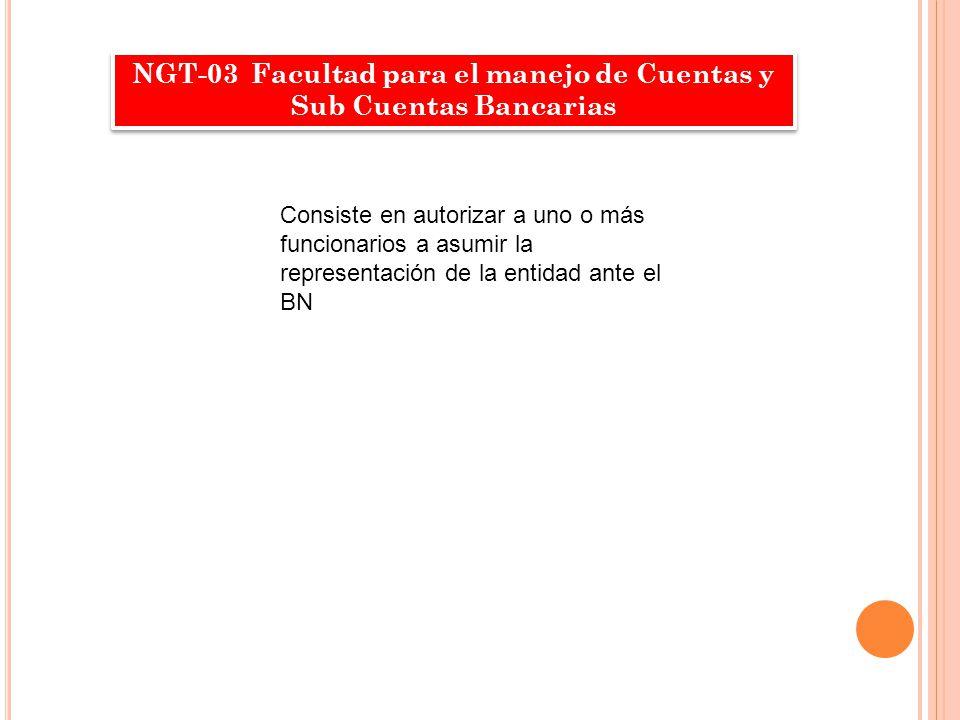 NGT-03 Facultad para el manejo de Cuentas y Sub Cuentas Bancarias