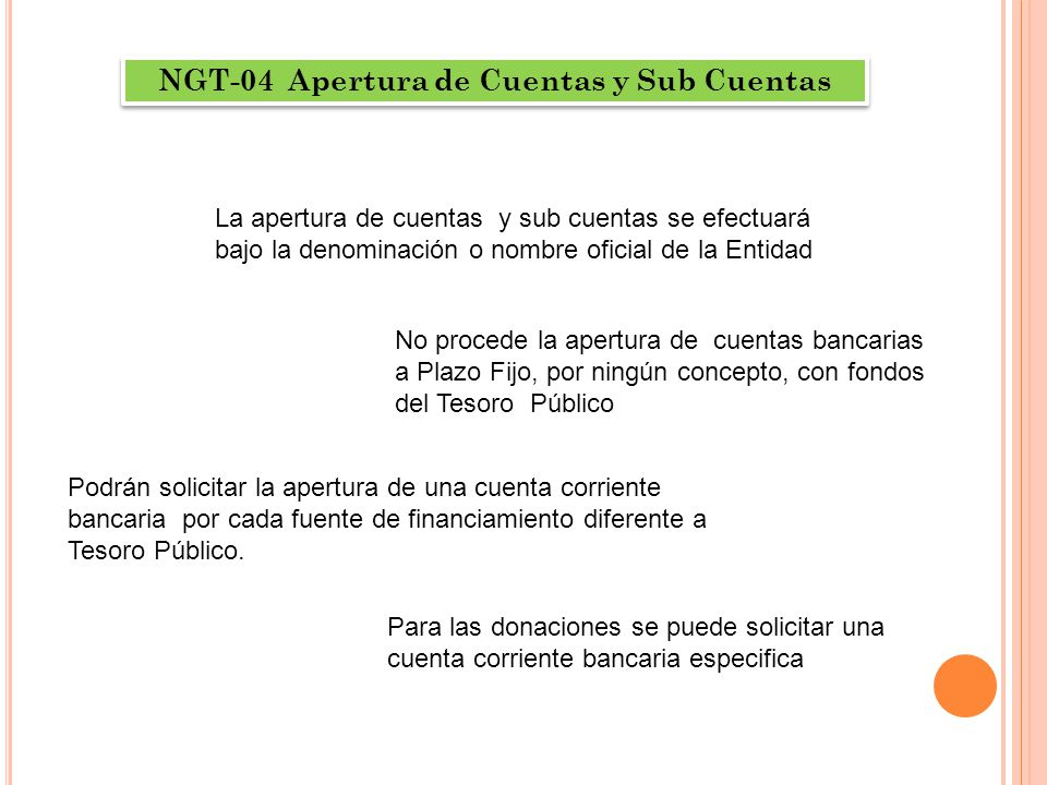 NGT-04 Apertura de Cuentas y Sub Cuentas
