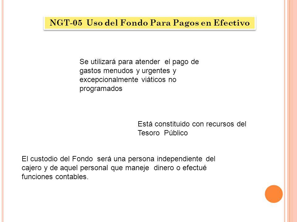 NGT-05 Uso del Fondo Para Pagos en Efectivo