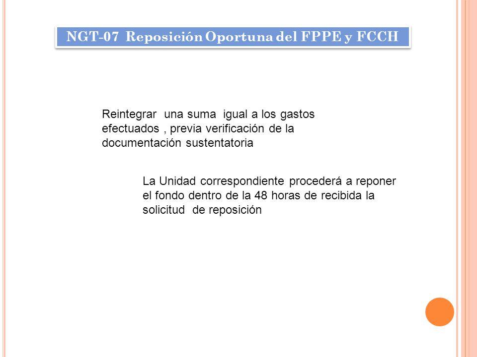 NGT-07 Reposición Oportuna del FPPE y FCCH