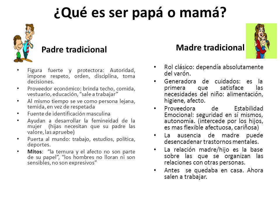 ¿Qué es ser papá o mamá Padre tradicional Madre tradicional