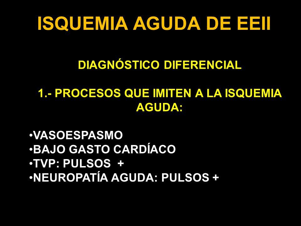 DIAGNÓSTICO DIFERENCIAL 1.- PROCESOS QUE IMITEN A LA ISQUEMIA AGUDA: