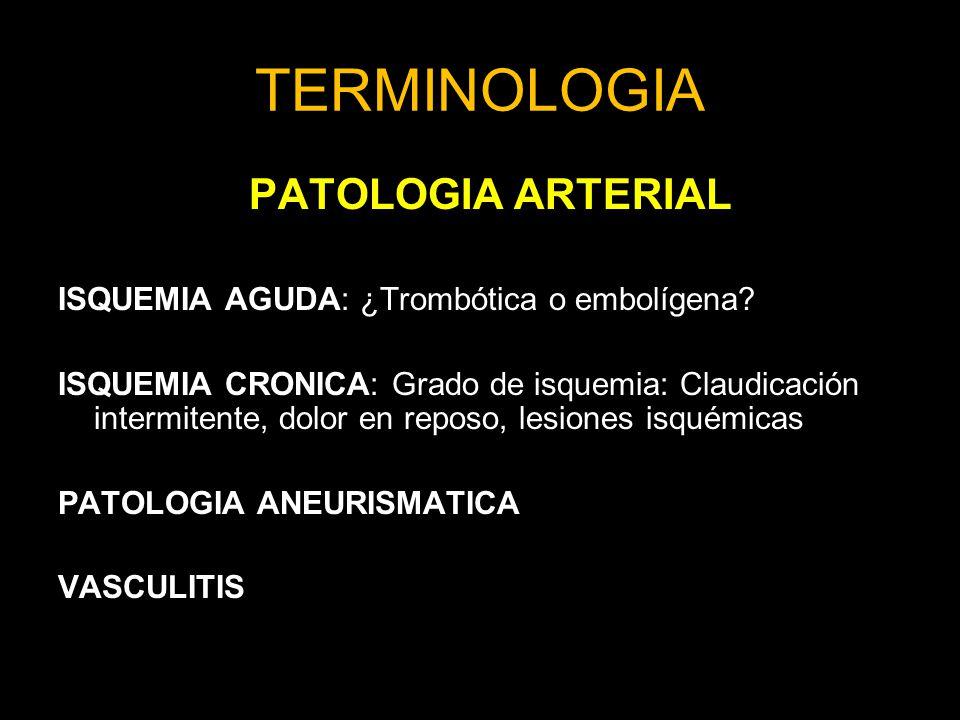 TERMINOLOGIA PATOLOGIA ARTERIAL