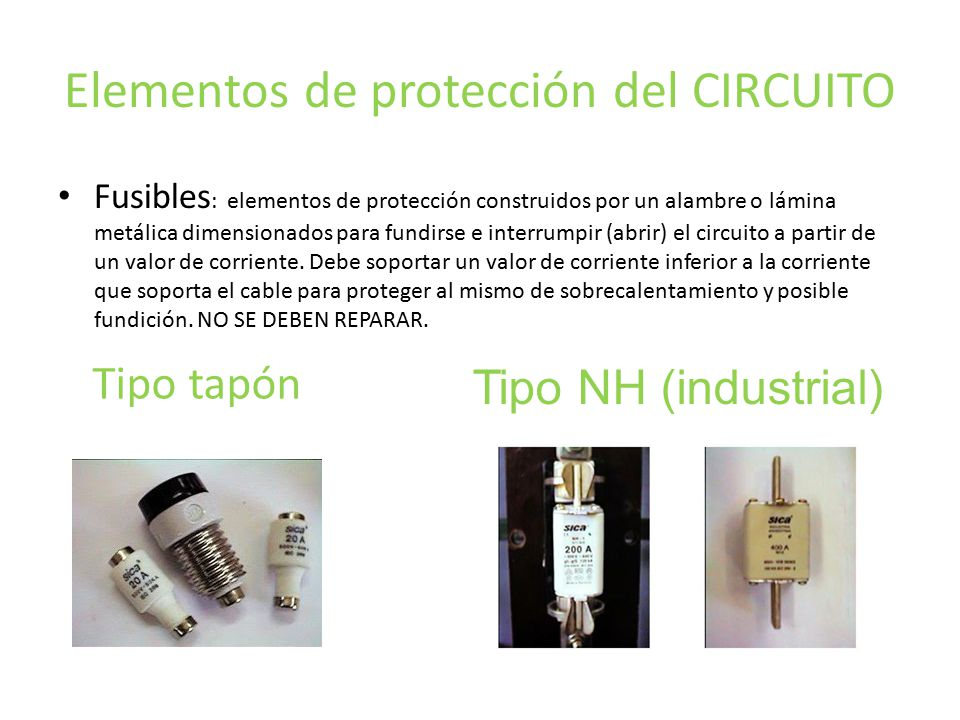 Elementos de protección del CIRCUITO