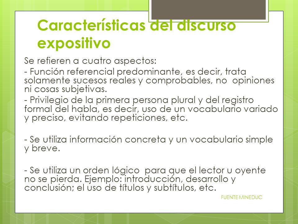Características del discurso expositivo