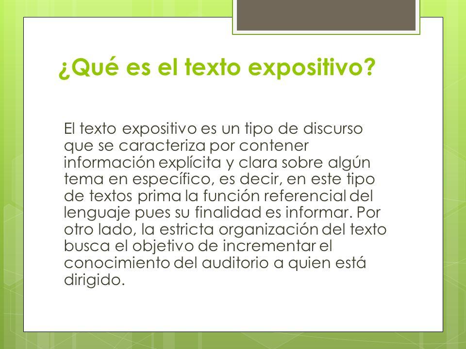 ¿Qué es el texto expositivo