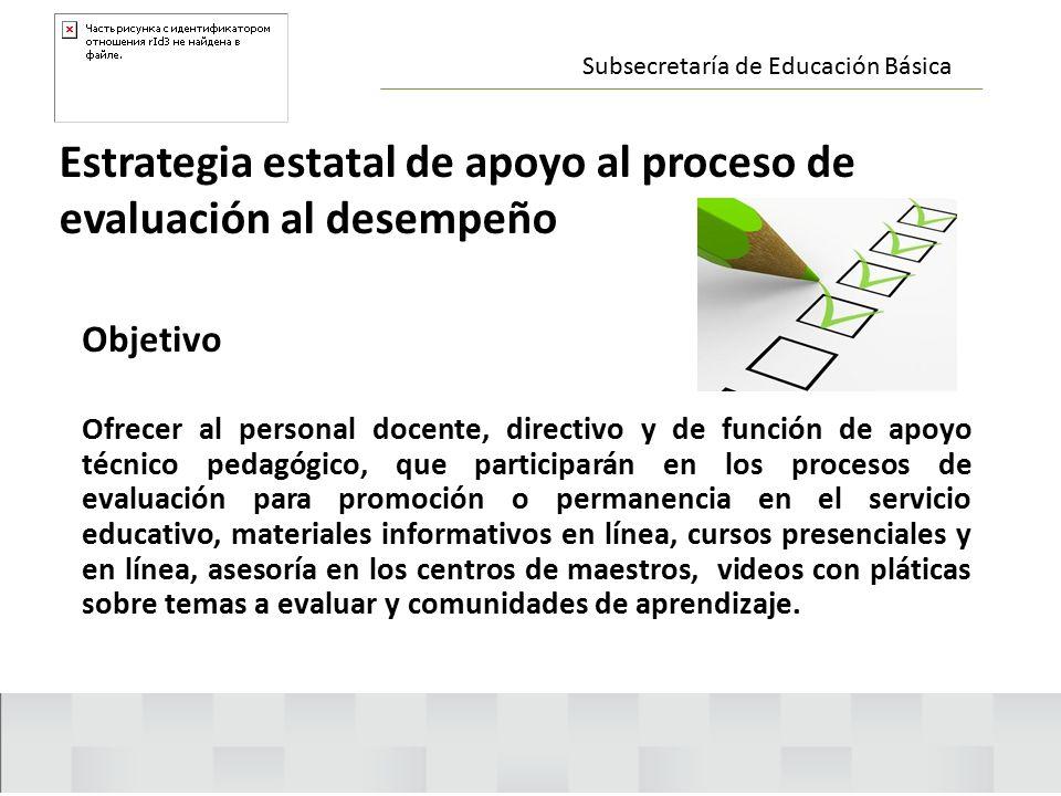 Estrategia estatal de apoyo al proceso de evaluación al desempeño