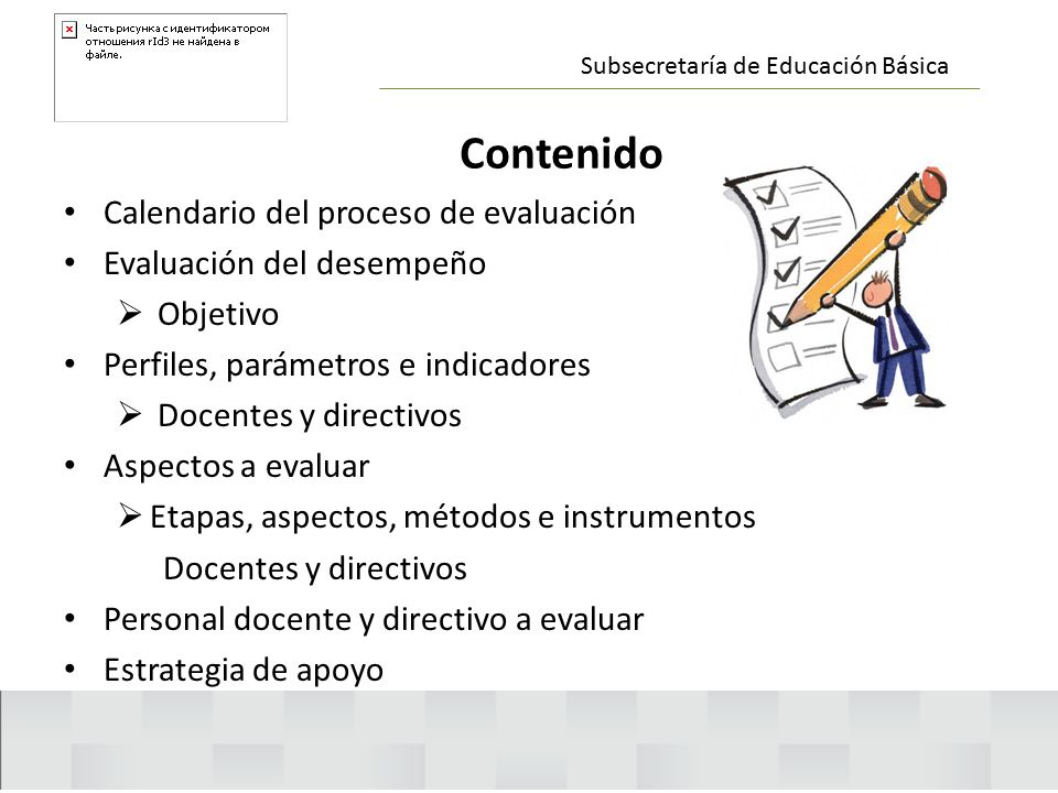 Contenido Calendario del proceso de evaluación