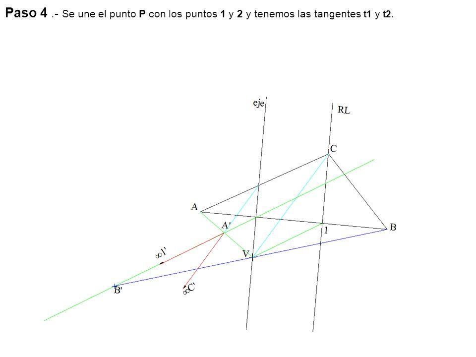 Paso 4 .- Se une el punto P con los puntos 1 y 2 y tenemos las tangentes t1 y t2.