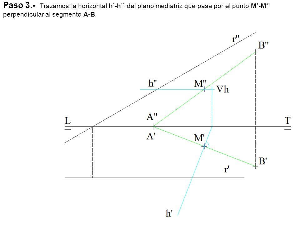 Paso 3.- Trazamos la horizontal h'-h'' del plano mediatriz que pasa por el punto M'-M'' perpendicular al segmento A-B.