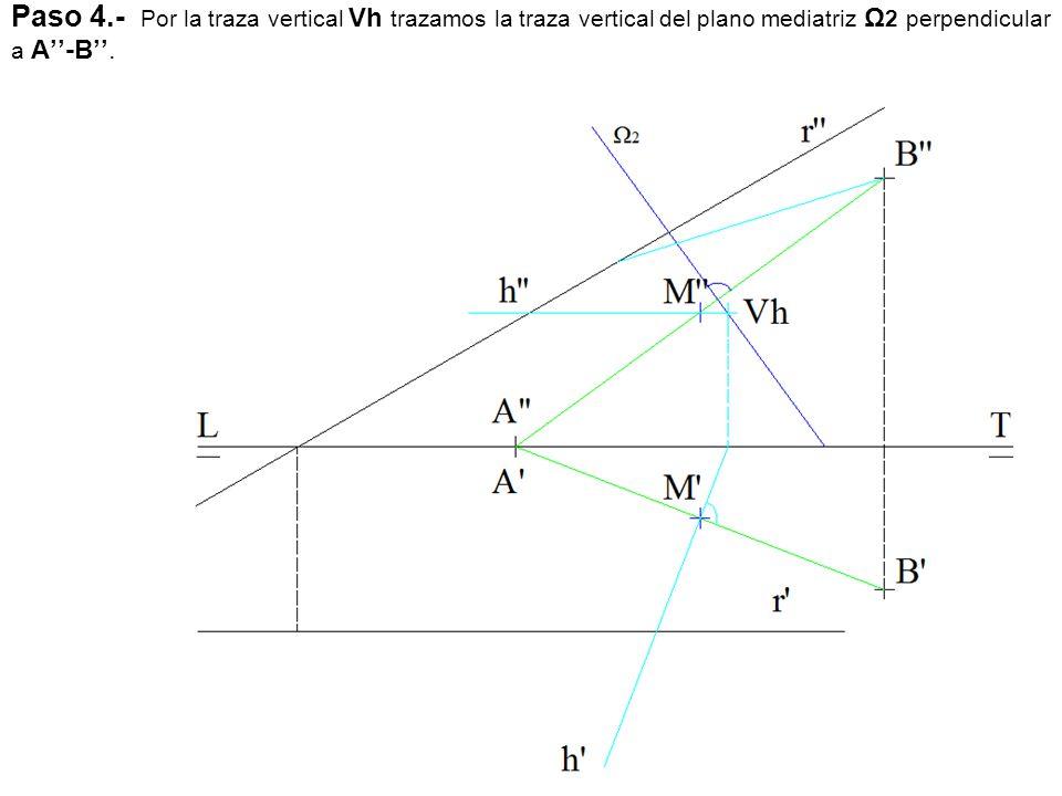 Paso 4.- Por la traza vertical Vh trazamos la traza vertical del plano mediatriz Ω2 perpendicular a A''-B''.