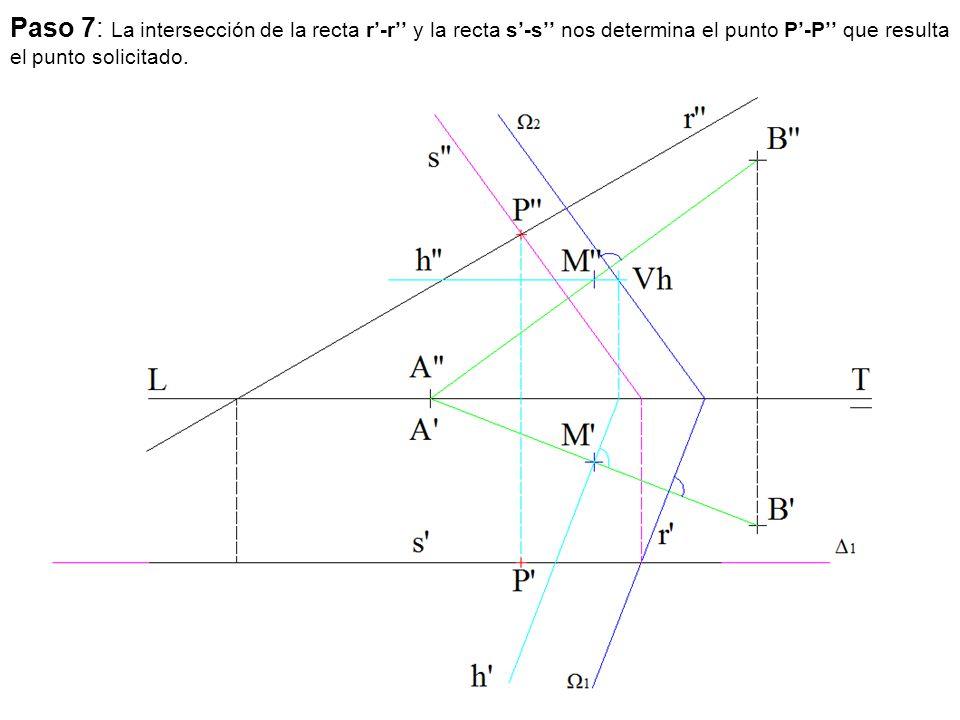 Paso 7: La intersección de la recta r'-r'' y la recta s'-s'' nos determina el punto P'-P'' que resulta el punto solicitado.
