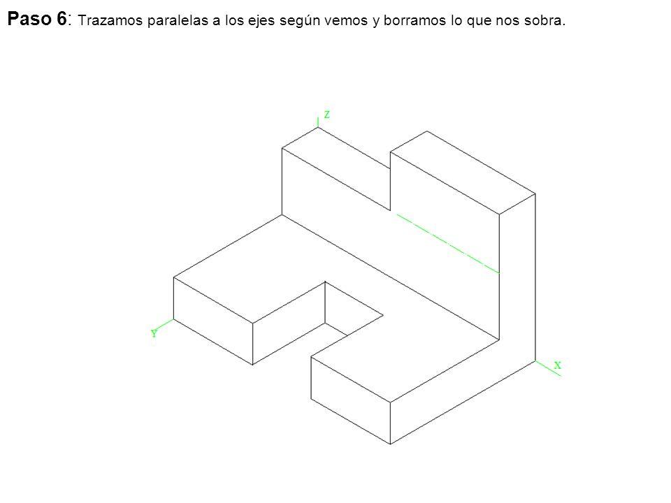 Paso 6: Trazamos paralelas a los ejes según vemos y borramos lo que nos sobra.