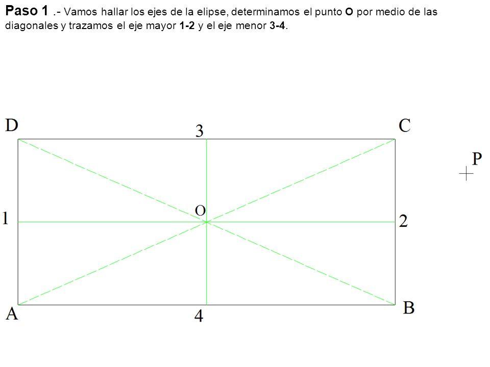 Paso 1 .- Vamos hallar los ejes de la elipse, determinamos el punto O por medio de las diagonales y trazamos el eje mayor 1-2 y el eje menor 3-4.