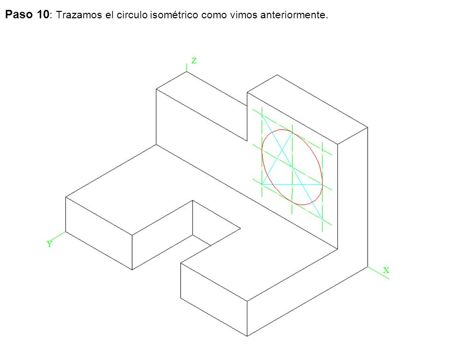 Paso 10: Trazamos el circulo isométrico como vimos anteriormente.
