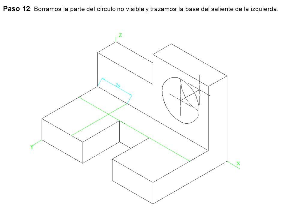 Paso 12: Borramos la parte del circulo no visible y trazamos la base del saliente de la izquierda.