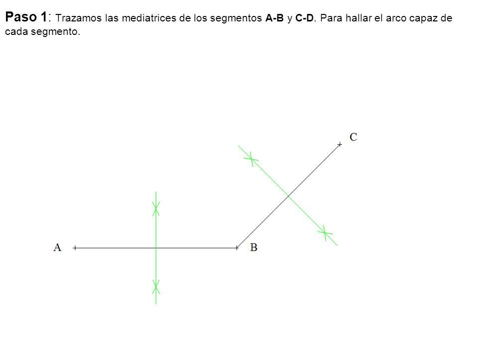 Paso 1: Trazamos las mediatrices de los segmentos A-B y C-D