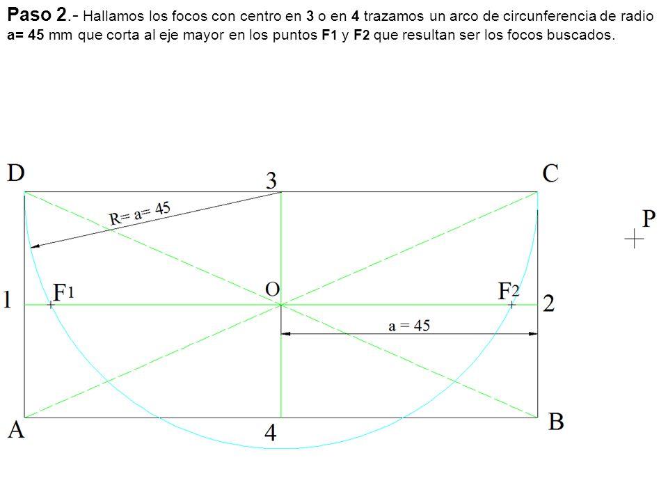 Paso 2.- Hallamos los focos con centro en 3 o en 4 trazamos un arco de circunferencia de radio a= 45 mm que corta al eje mayor en los puntos F1 y F2 que resultan ser los focos buscados.