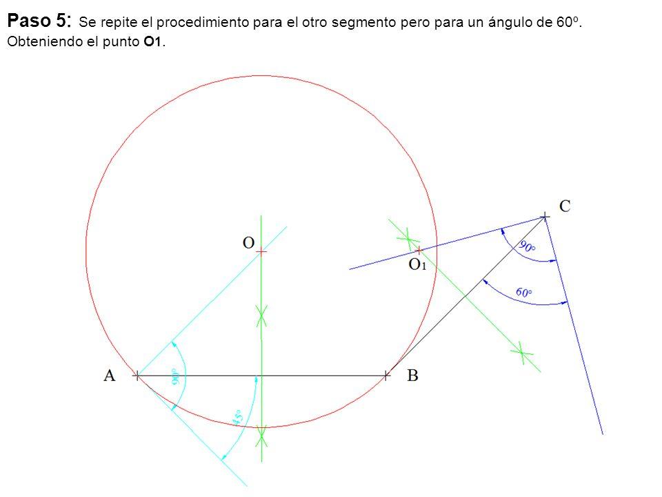Paso 5: Se repite el procedimiento para el otro segmento pero para un ángulo de 60º.