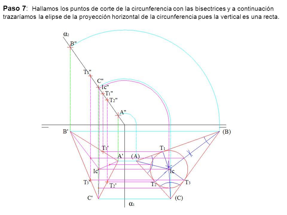 Paso 7: Hallamos los puntos de corte de la circunferencia con las bisectrices y a continuación trazaríamos la elipse de la proyección horizontal de la circunferencia pues la vertical es una recta.