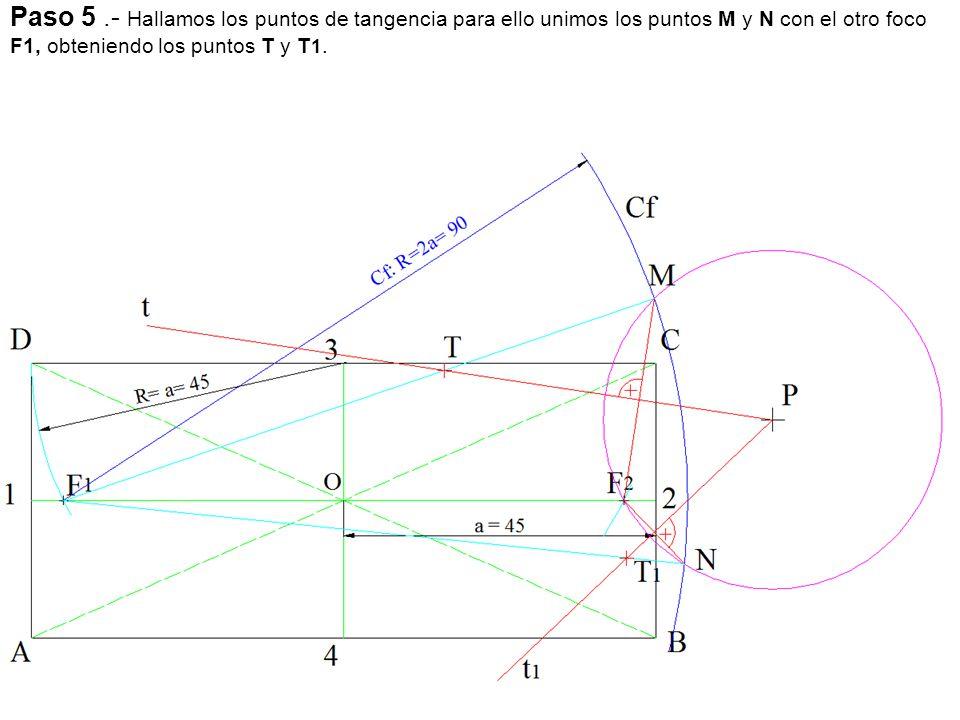 Paso 5 .- Hallamos los puntos de tangencia para ello unimos los puntos M y N con el otro foco F1, obteniendo los puntos T y T1.
