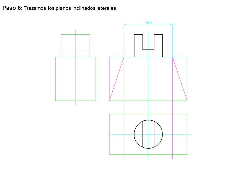 Paso 8: Trazamos los planos inclinados laterales.