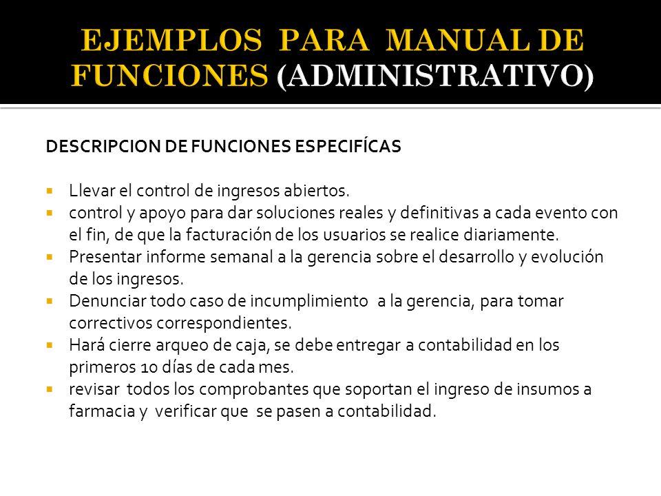 EJEMPLOS PARA MANUAL DE FUNCIONES (ADMINISTRATIVO)