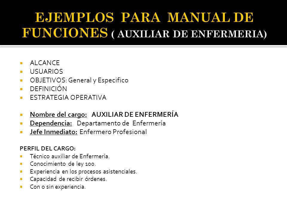 EJEMPLOS PARA MANUAL DE FUNCIONES ( AUXILIAR DE ENFERMERIA)