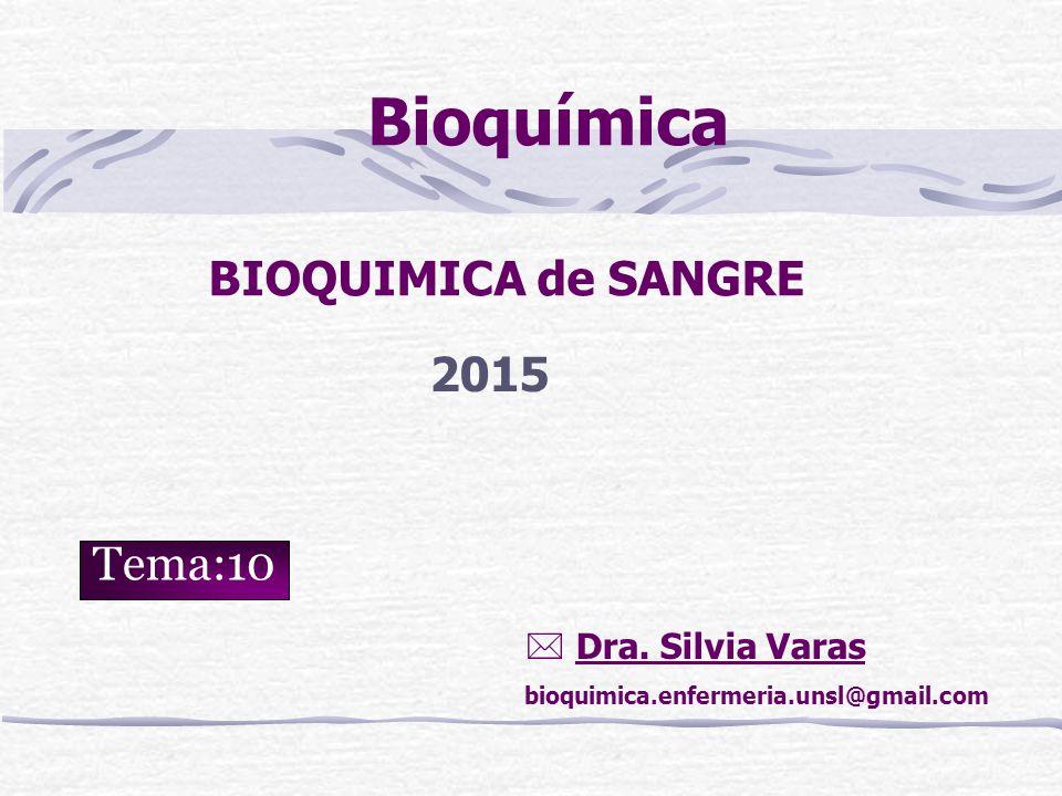 Bioquímica BIOQUIMICA de SANGRE 2015 Tema:10  Dra. Silvia Varas