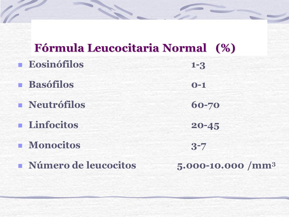 Fórmula Leucocitaria Normal (%)