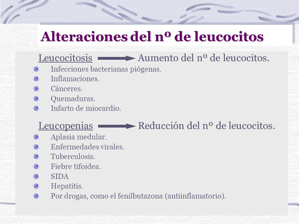 Alteraciones del nº de leucocitos