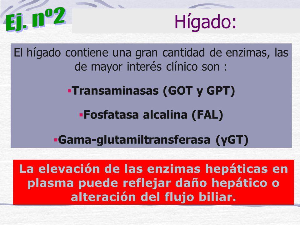 Ej. nº2 Hígado: El hígado contiene una gran cantidad de enzimas, las de mayor interés clínico son :